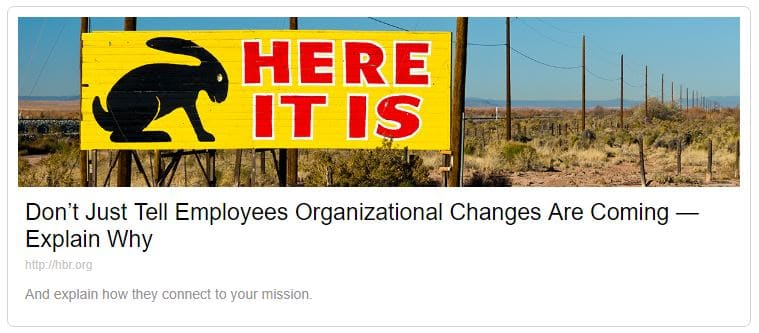 Image link to HBR article about change manangement